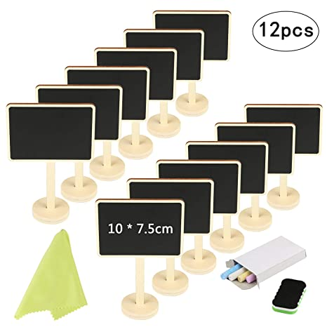 Mini Chalkboard KAKOO 12 Pcs Blackboards Message Board Sign Food Label Place Cards with Stand for Wedding Birthday Parties Tabletop Signs Event ...