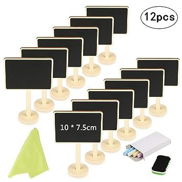 KAKOO 12pcs Pizarra pequeña Vertical Nombre de Mini Pizarra de Madera con Tiza y borrar para mostrador de Precio, candybar de Mesa de Boda, Planta de ...