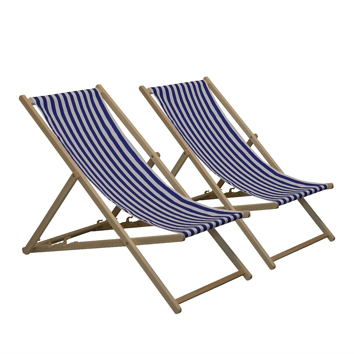 Traditional Adjustable Garden / Beach-style Deck Chair - Blue / White Stripe - Pack of 2 Harbour Housewares
