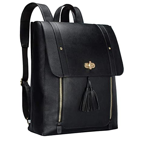 eefbb033cc0963 Amazon.com: Bertasche Womens PU Leather Laptop Backpack 14 inch Computer  Bookbag for College Work - Black: Computers & Accessories
