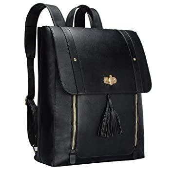 9288d5ccee8d Image Unavailable. Image not available for. Color  YHQ Womens PU Leather  Laptop Backpack 15.6 inch Computer Bookbag for College Work - Black