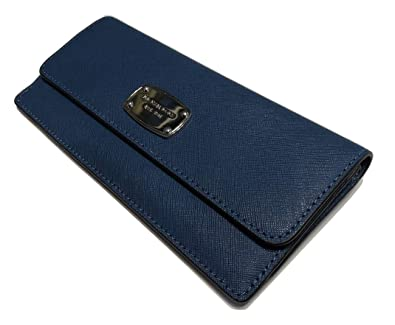 c15d2d33f900f2 Image Unavailable. Image not available for. Color: Michael Kors Jet Set  Travel Flat Wallet Saffiano Leather Steel Blue