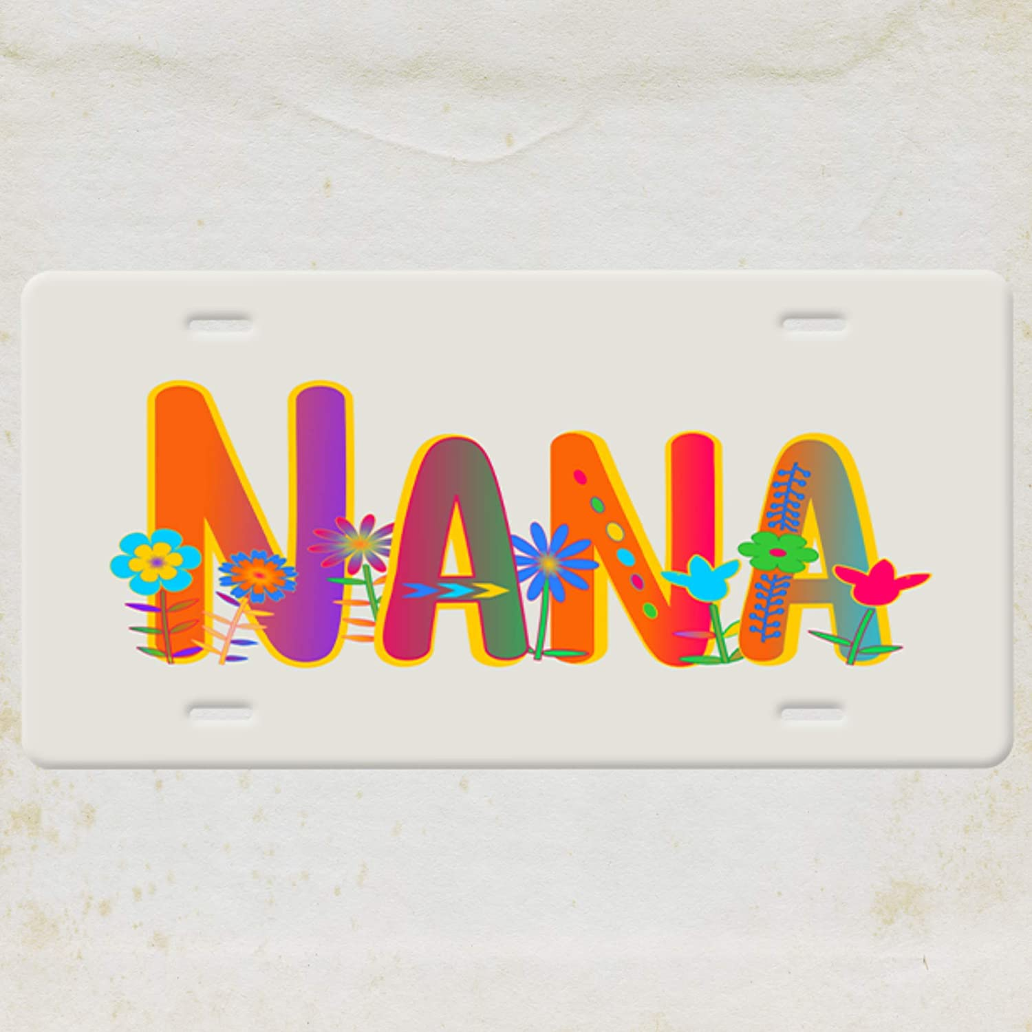 Nana Grandmother License Plate-Rainbow and Whimsical Flowers Quote on a Cream background metal Vanity Car License Plate Tag