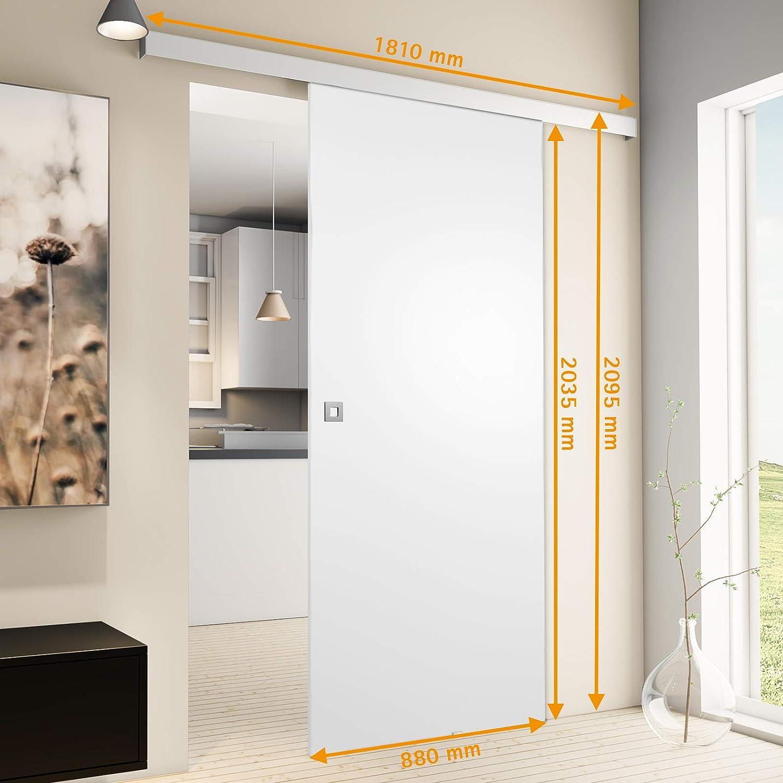 inova wei/ße Design Holzschiebet/ür 880 x 2035 mm Aluminium Komplettset mit Laufschiene und Griff Quadrat Innent/ür