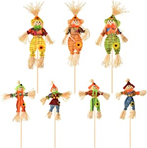 7 Pieces Thanksgiving Scarecrow Decoration Small Fall Harvest Scarecrow Decor Happy Halloween Thanksgiving Decorations for Home Garden Yard Porch Thanksgiving Decor Supplies, 2 Sizes