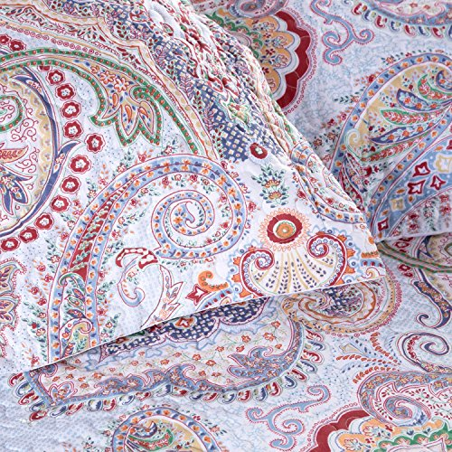 "Printed Quilt Coverlet Set Full/Queen(86″x96″) Crimson Blue Paisley Pattern Lightweight Hypoallergenic Microfiber ""Marrakesh"" by Bedsure 71Z2xw1JZjL"