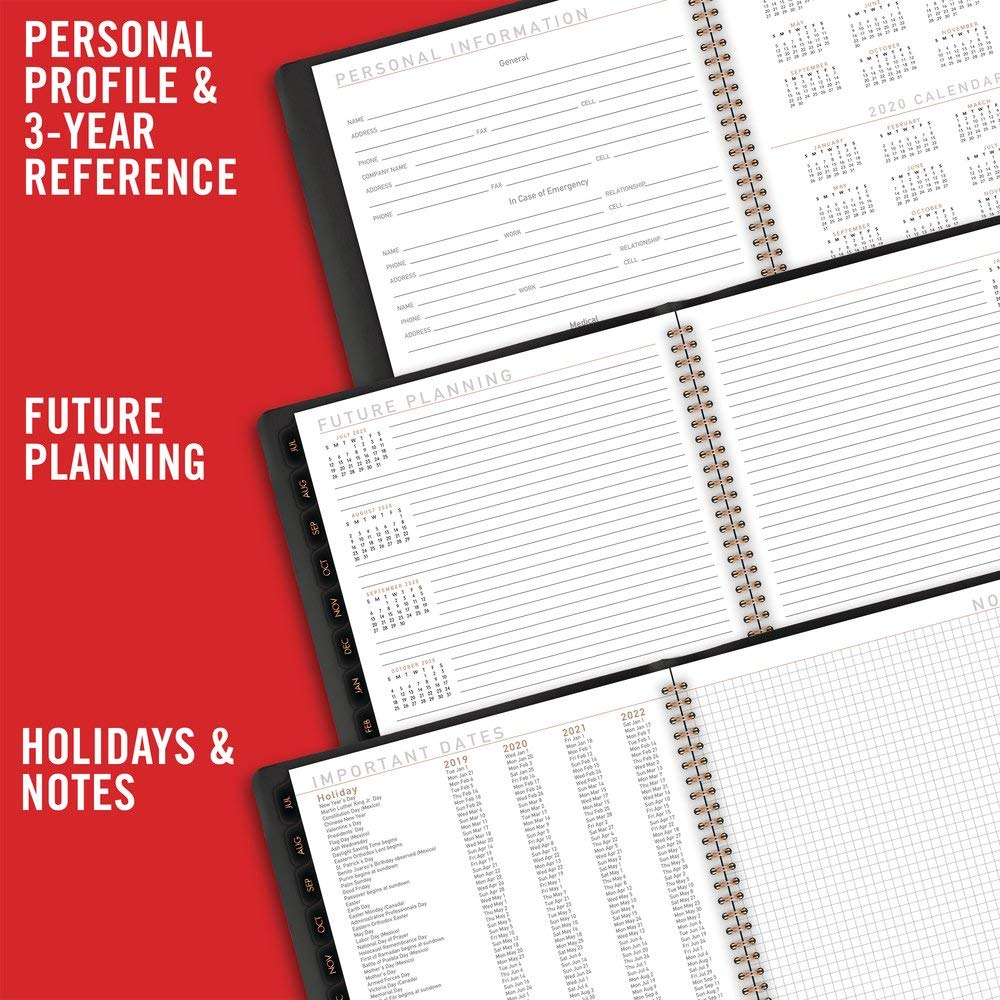 AT-A-GLANCE 70957X0520 2019-2020 Academic Year Weekly & Monthly Planner/Appointment Book, Large, 8-1/4'' x 11'', Contempo, Black (70957X05) by AT-A-GLANCE (Image #5)