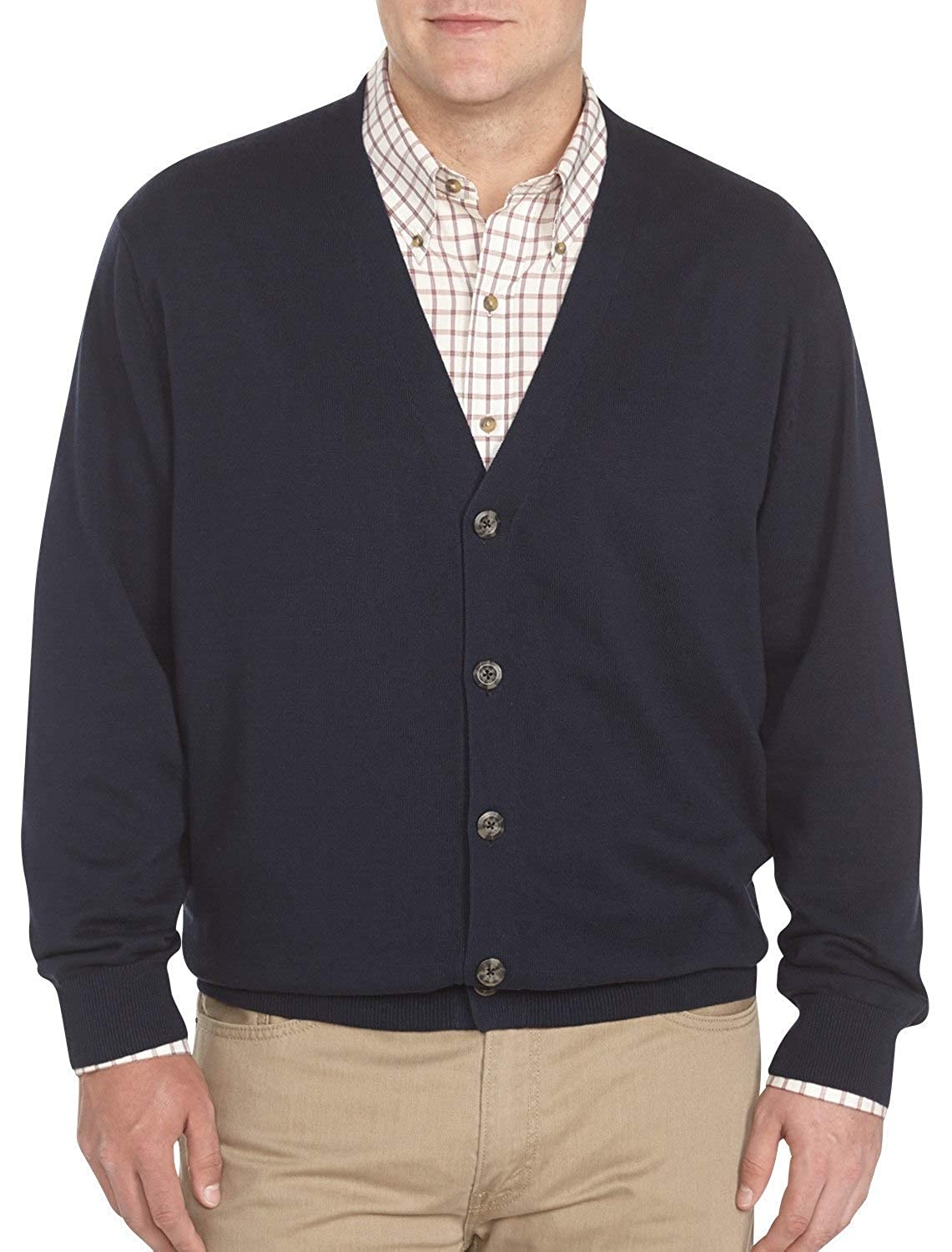 Harbor Bay by DXL Big and Tall V-Neck Button Cardigan Sweater