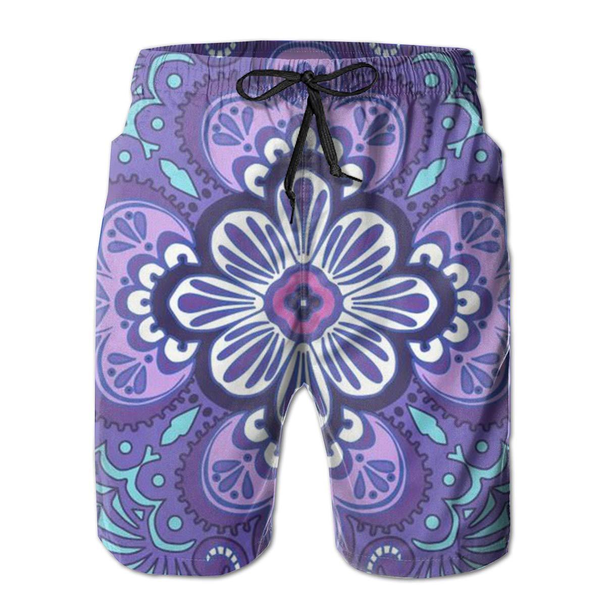 Tyugvvo Colorful Flowers Funny Swim Trunks Quick Dry Beachwear Sports Running Swim Board Shorts Mesh Lining
