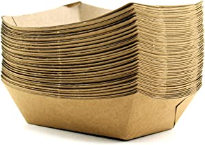 Adorox 50 Count Brown Disposable Cardboard Paper Food Tray, 1-Pound