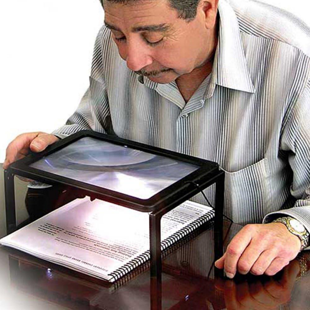 Pieghevole vivavoce Full page Magnifier 3/x lente di ingrandimento con 4/luci LED in out gambe stand over Document per lettura cucire mestieri artigianato hobby # 81119