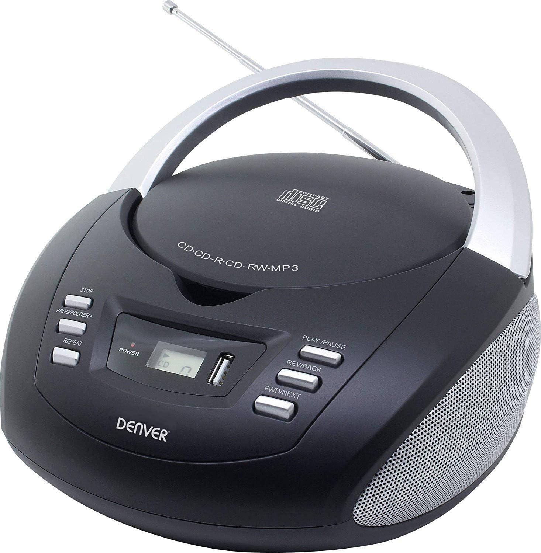 Denver TCU-211BLACK Reproductor de CD y Radio FM - Reproducción de MP3 a través de USB/CD