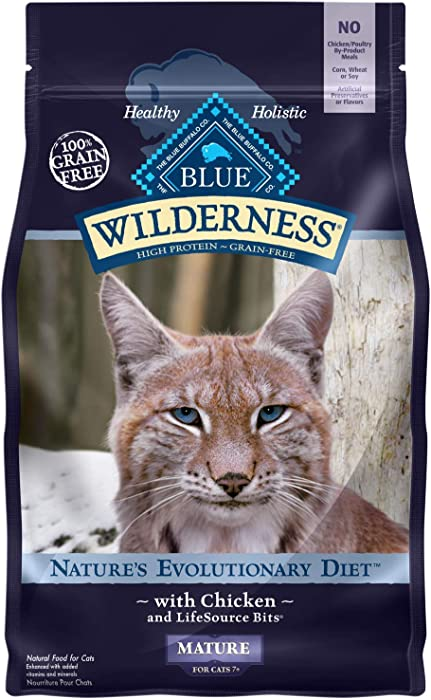 Blue Buffalo Wilderness High Protein, Natural Mature Dry Cat Food, Chicken 5-lb