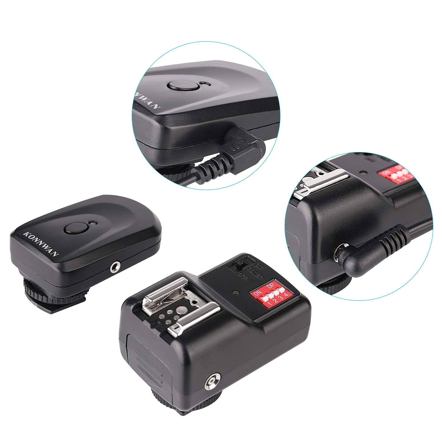 KONNWAN Wireless Flash Trigger Transmitter and Receiver 16 Channel Wireless Remote FM Flash Speedlite Radio Trigger with Receiver for Flash Units with Hot Shoe GY16-1