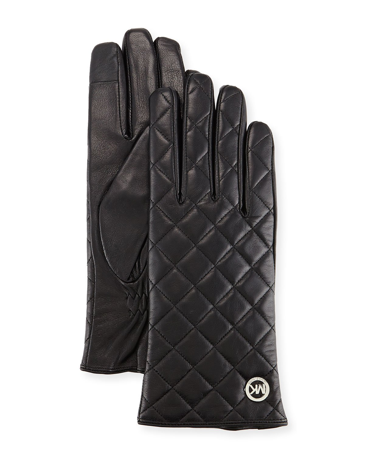Michael Kors Womens Quilted Leather Tech Gloves Black (Medium)