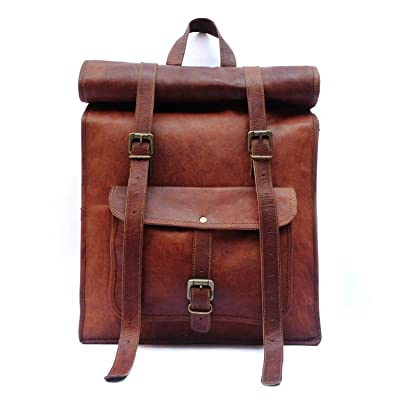 Men's Leather Vintage Roll On Laptop Backpack Rucksack One Size Brown