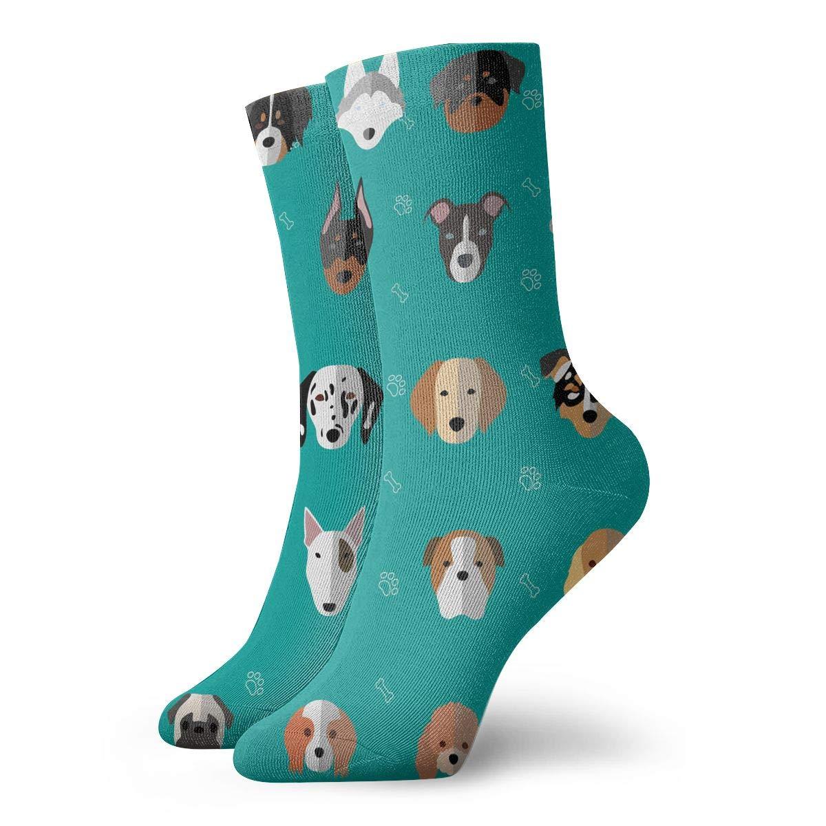 Dog Heads Cute Unisex Funny Casual Crew Socks Athletic Socks For Boys Girls Kids Teenagers