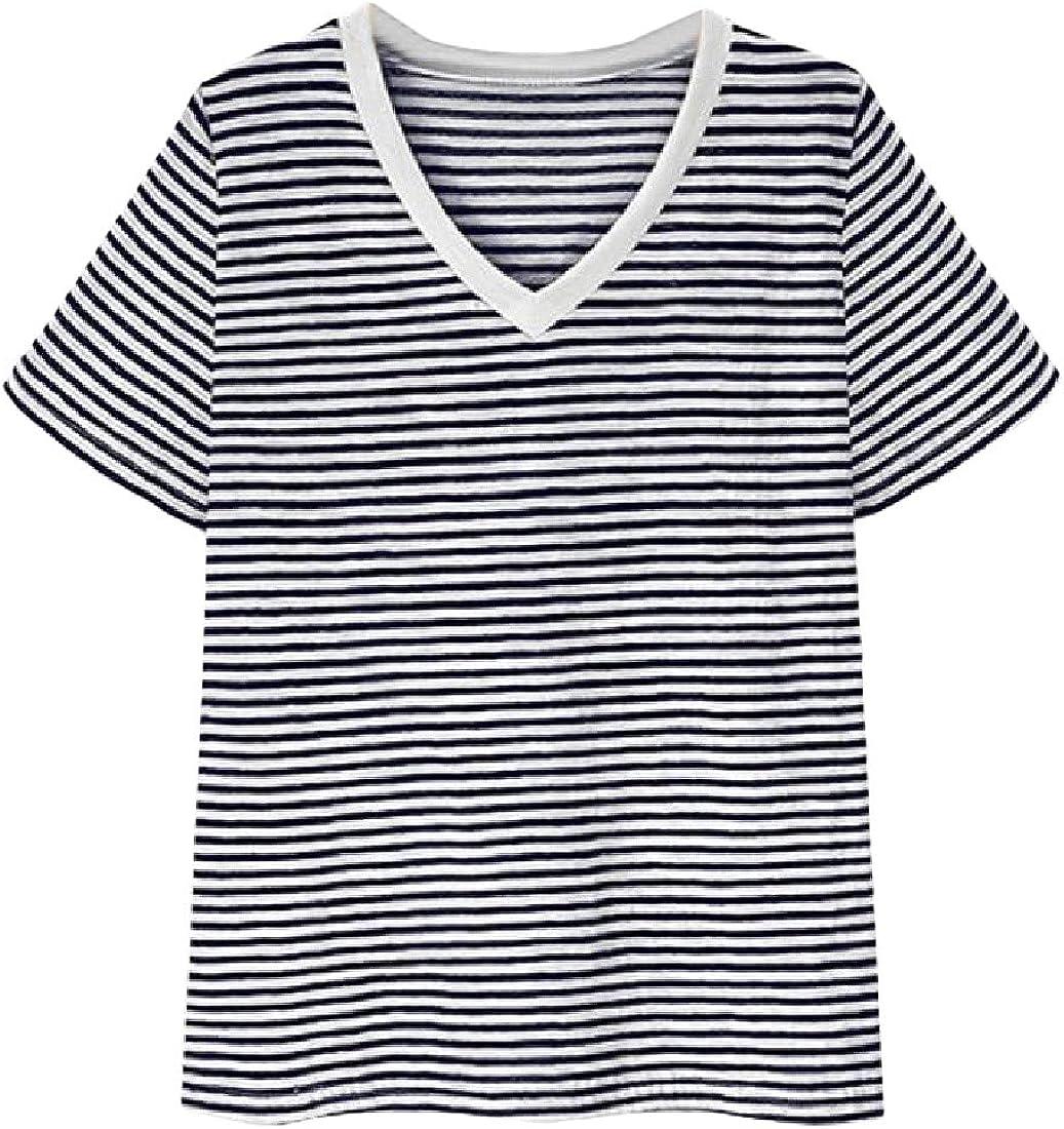 Pandapang Womens Slim Summer V Neck Striped Pullover Short Sleeve Tops T-Shirt