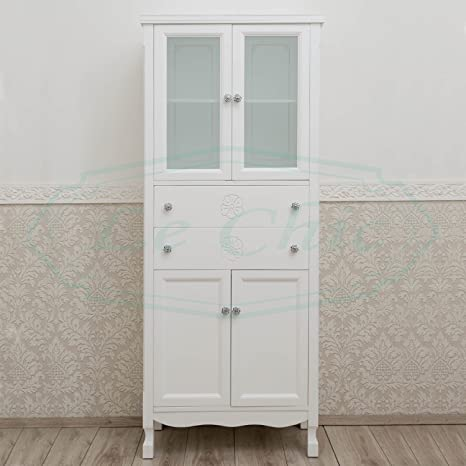 Colonna Mobile Bagno contamporaneo Bianco Opaco Shabby Chic dispensa ...