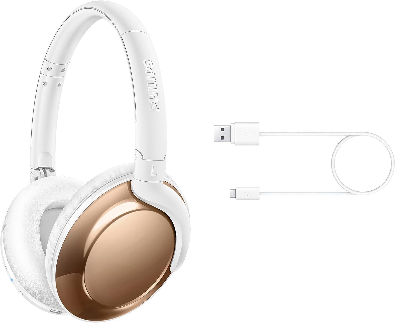 Philips SHB4805RG Flite Everlite - Auriculares Bluetooth inalámbricos (Elegante y Plegables, 12 Horas de reproducción) Oro Rosa