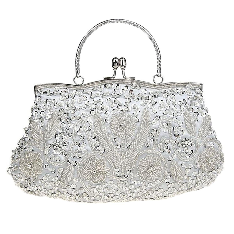 ABage Women's Evening Bag Beaded Sequin Kiss-lock Wedding Party Clutch Handbags