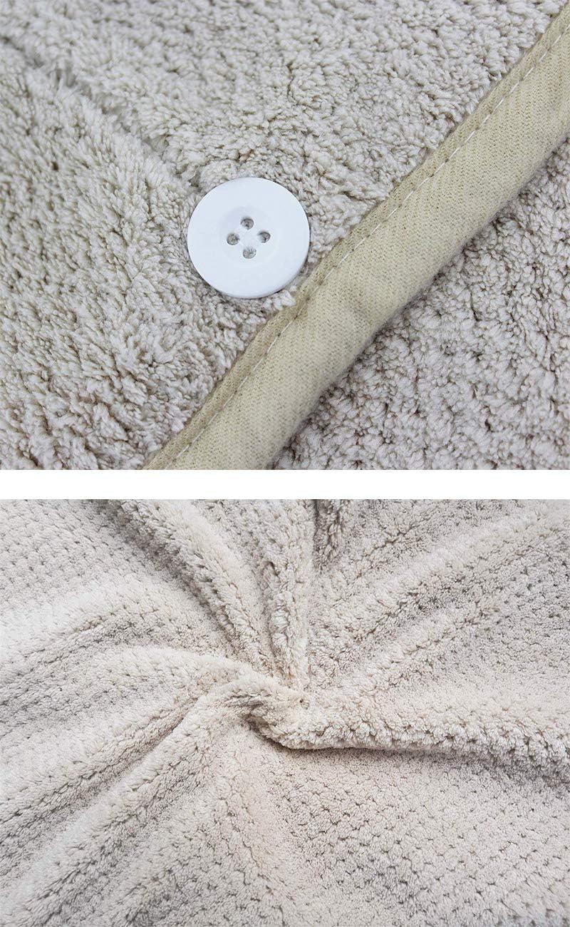 Cachi WANGUP Asciugamano Capelli a Turbante Capelli asciutti da Asciugamani in Microfibra Asciugacapelli rapido Super Assorbenti Towel per Capelli Bagnati Asciugamani da Doccia con Bottone