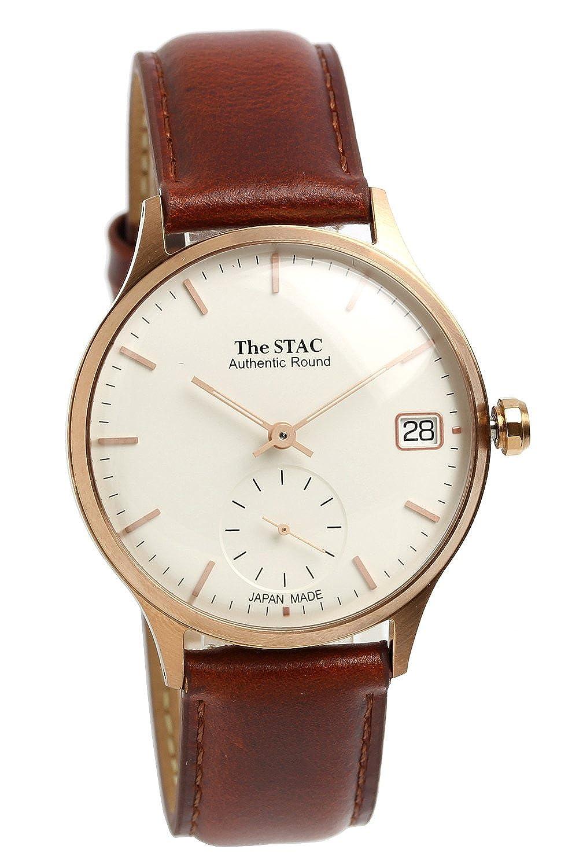 [ザスタック] The STAC 日本製 腕時計 ウォッチ Authentic Round クラシック メンズ レディース (バー×PGブラウン) B078C7MTSVバー×PGブラウン