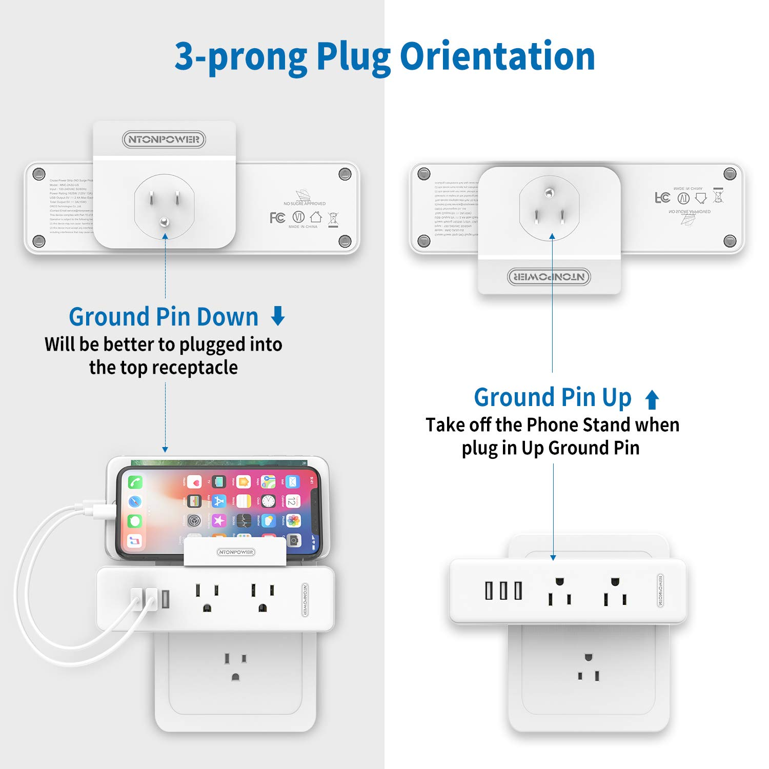 2 Pack Cruise Power Strip No Surge Protector – NTONPOWER 2 Outlets Extender Wall tap with 3 USB Ports and Phone Stand – Cruise Compliant – Must Have Cruise Travel Essentials Accessories