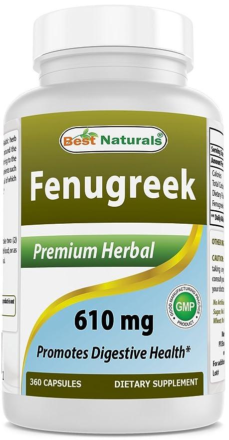 Semillas de mejor Naturals Fenugreek 610 mg 360 Cápsulas – Fenugreek cápsulas para mayor suministro de