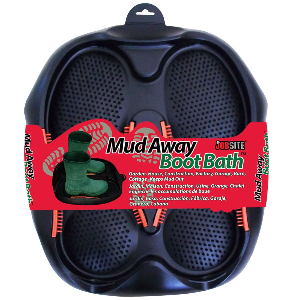 JobSite Mud Away Boot Bath - Clean, Scrub & Scrape Mud off Boots and Shoes So Your Home Stays Clean