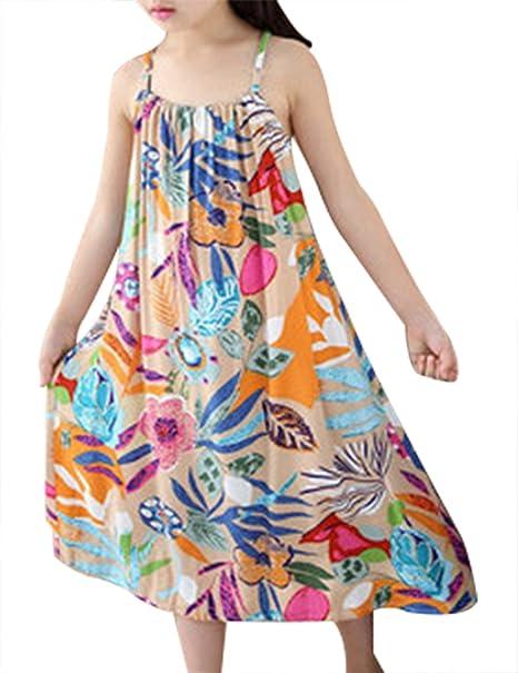 973f2aac0b0 Baby Kid Girl Summer Dress Cute Print Sleeveless Beach Sundress (120cm for  3-4