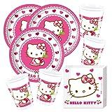 52- teiliges Party-Set Hello Kitty Teller Becher Servietten für 16 Kinder