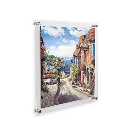 clear acrylic wall mount floating frameless picture frame up to 12x12 photo for poster photography frames