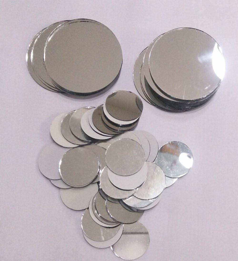 Verre Miroir rond Carreaux de mosa/ïque ronde Craft miroirs DIY accessoire 2