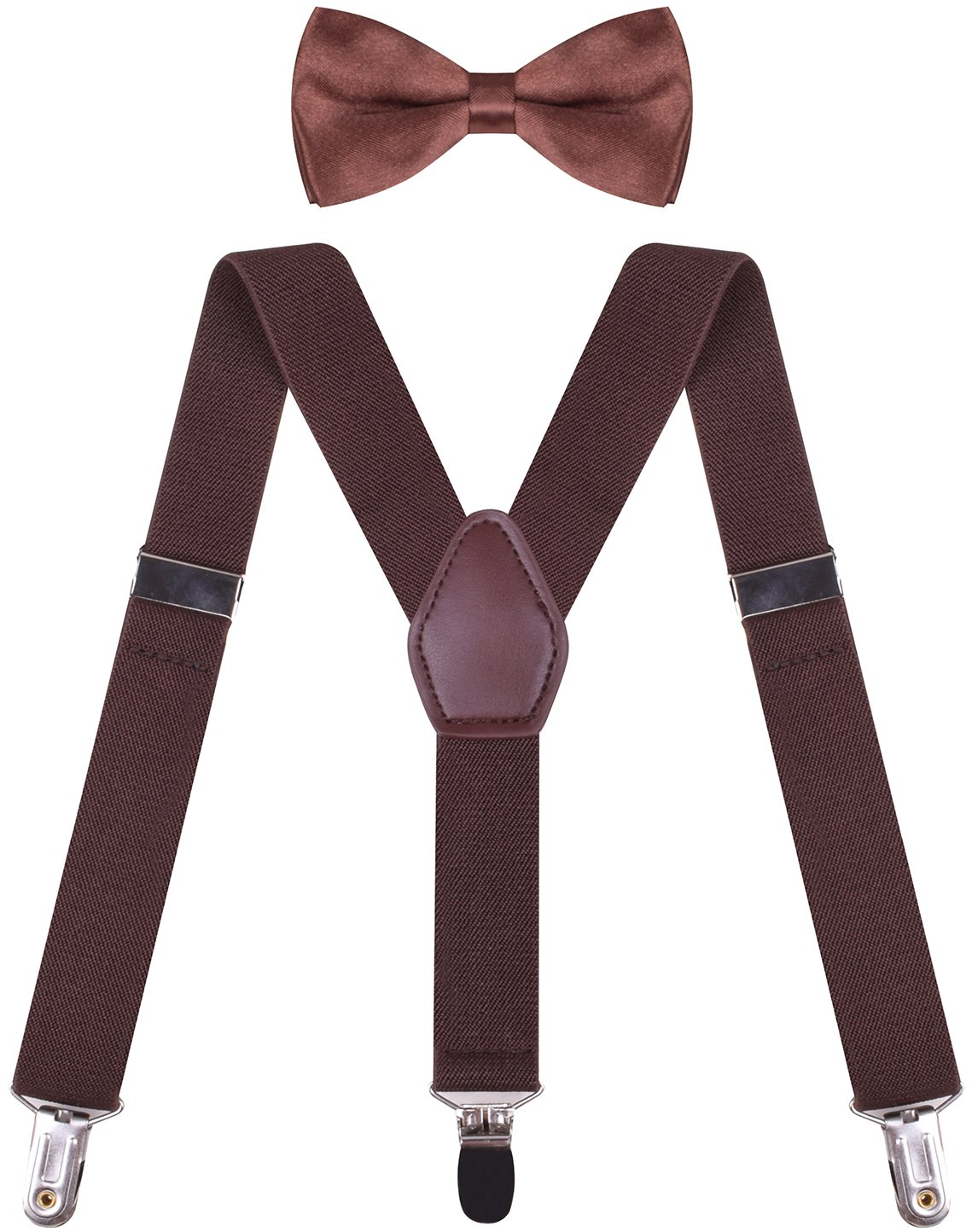 ORSKY Boys's Suspender with Bow Tie Set Adjustable Y Back Coffee