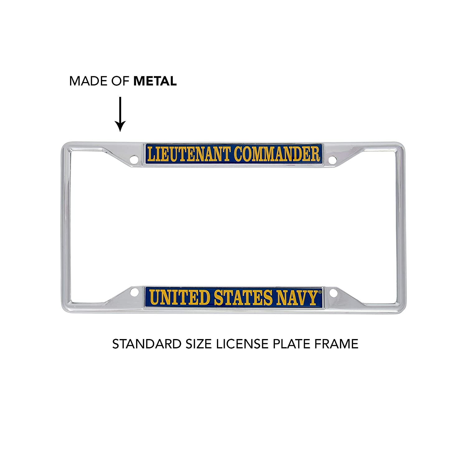 Desert Cactus US Navy Lieutenant Commander Officer Grades License Plate Frame for Front Back of Car Officially Licensed United States
