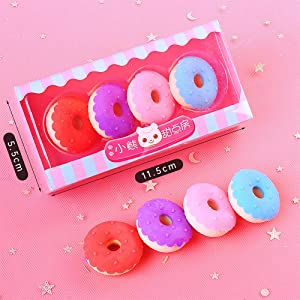 Farrosig 3D Donut Pencil Erasers Take Apart Erasers Food Dessert Cute Cartoon Puzzle Erasers Novelty Toys for Birthday Party Favors Classroom Rewards Games Prizes Carnival Gifts School Supplies