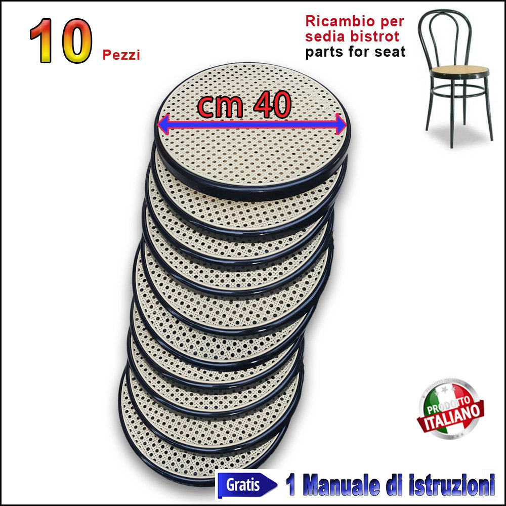 Ricambio Sedia Thonet in Metallo Bistrot FACILCASA Seduta Rotonda (Bistrot Nera)
