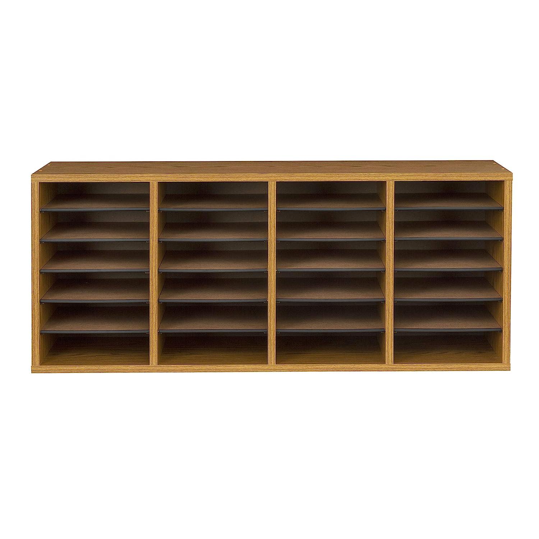 Amazon.com : Safco Products Wood Adjustable Literature Organizer, 24  Compartment, 9423MO, Medium Oak, Durable Construction, Removable Shelves,  ...