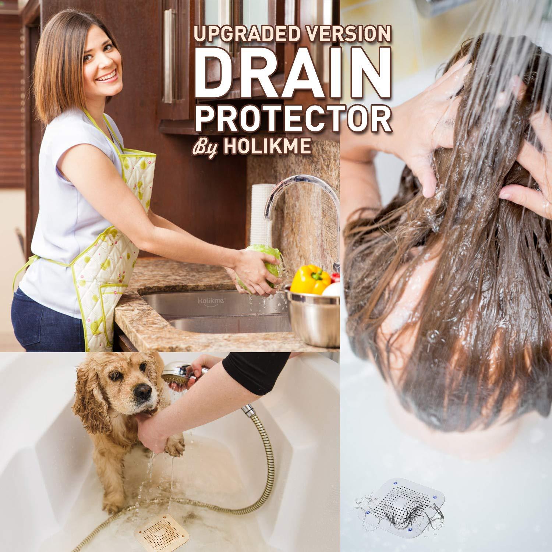 Holikme Drain Hair Catcher Shower Drain Cover, 2 Pack Silicone Drain Protector with 12 Detachable Suckers, Shower Drain Hair Trap for Tub,Bathroom,Kitchen,Bathtub,Sink,Wash Basin, White/Grey