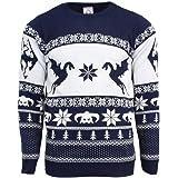 Numskull Unisex Official Skyrim Knitted Christmas Jumper for Men or Women - Ugly Novelty Sweater Gift