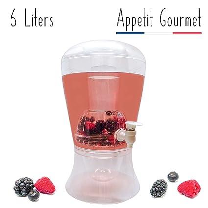 Appetit Gourmet Dispensador de Bebidas Fuente de Bebidas Limonada Cócteles con Grifo Gran Capacidad 6l Doble