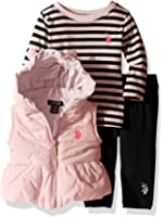 U.S. Polo Assn. Baby Girls' 3 Piece Puffer Vest, Long Sleeve Top, and Legging Set