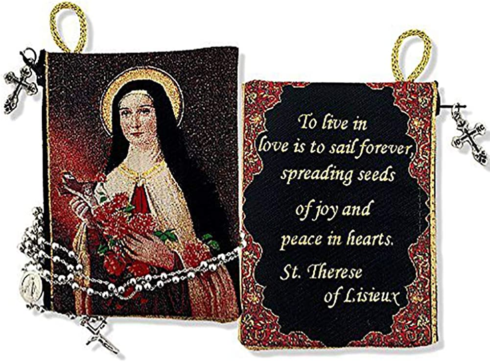 Religious Gifts Saint Therese of The Child Jesus Tapestry Pouch Keepsake Prayer 5 1/2 Inch