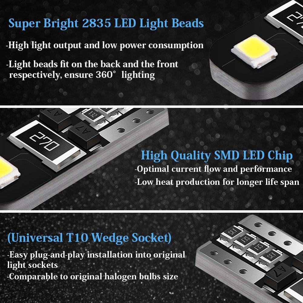 AGPTEK 10x T10 LED Bombillas, 2 SMD 2835 LED Canbus 6000K W5W 168 194 y más Wedge Lampara para Coches de Interior y Exterior sin polaridad xenón 12V, ...