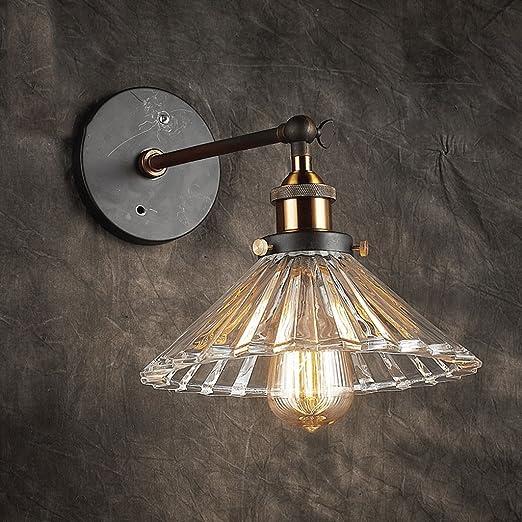 UanPlee LED Aplique Escalera Corredor Americano Misterio de Pared Exterior decoración Transparente sección Gruesa lámpara de Pared de Cristal. 1: Amazon.es: Hogar