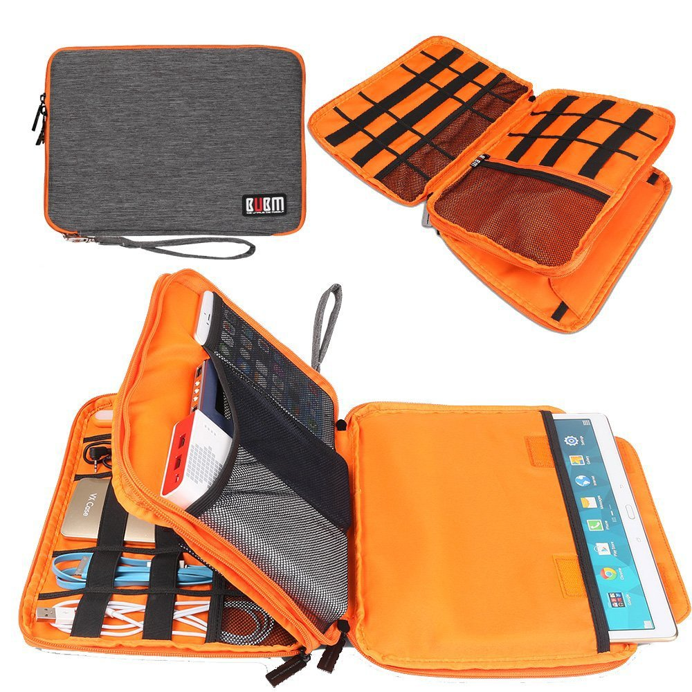 BUBM Compact Cord Organizer,Double Layers Electronics Travel Organizer Bag for Cables,USB,Flash Drive,Power Bank,More Fit for iPad(Large, Grey+Orange)