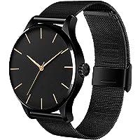 Hanylish Reloj para Caballero, Diseño Clásico y Minimalista, Correa de Acero Inoxidable, Caratula Ultrafina, Cristal…
