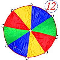 Play paracaídas 12 foot para niños con Extra fuerte manchas resistant-handles, pruebas de adecuada selección de colores sobre la base de experimentales color a juego, con costuras de alta calidad