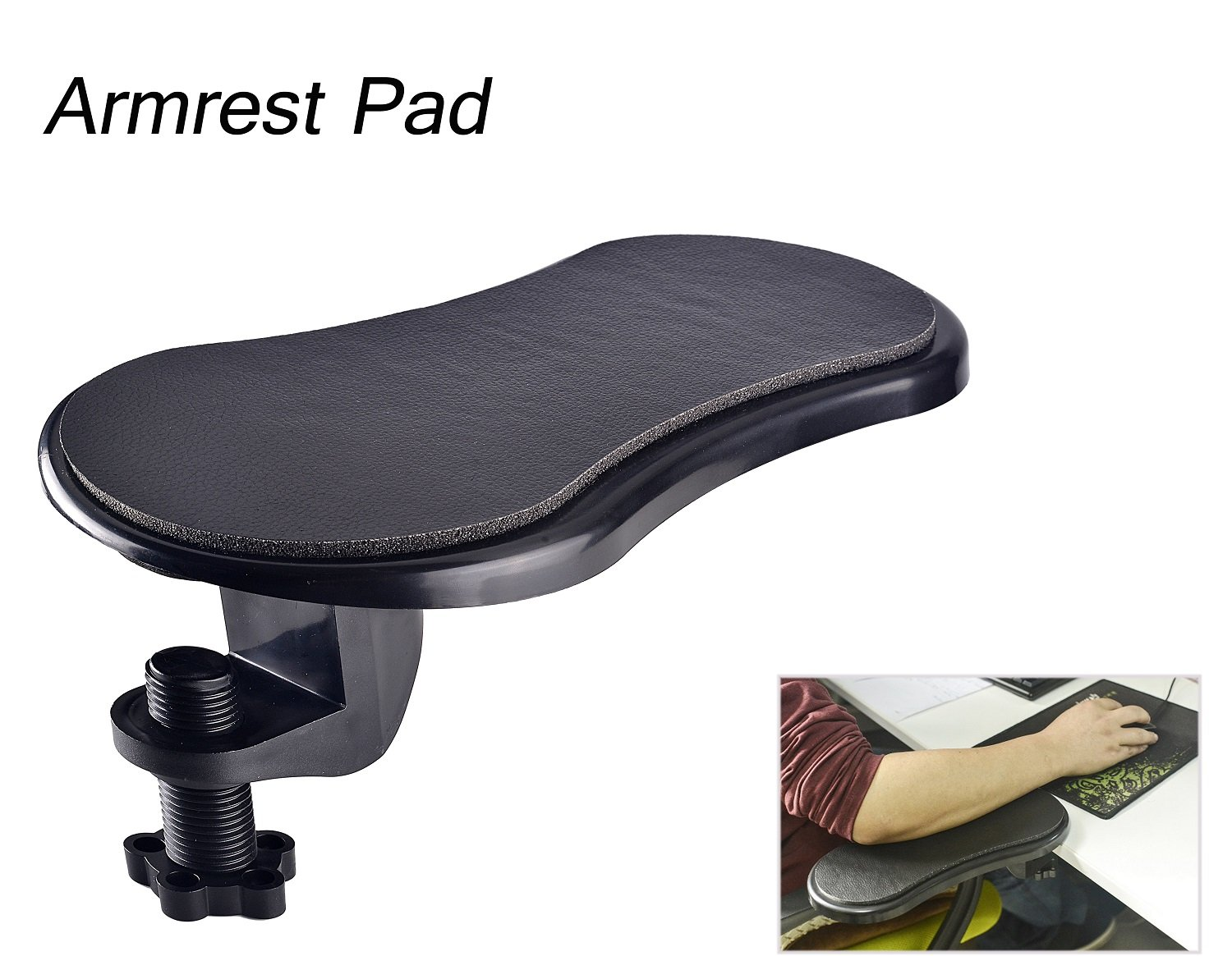 Rotating Computer Arm Rest Pad, Ergonomic Adjustable PC Wrist Rest Extender, Desk Attachable Home Office Mouse Pad Health Care Arm Support